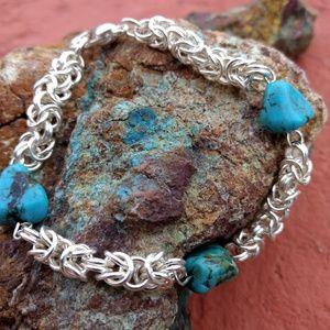 Jewelry - Handmade 99.9 Fine Silver Byzantine howlite